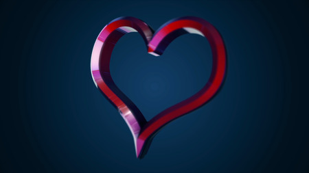 Animation of flying heart on isolated background. Animation. 3D heart shape sign declarations of love or gift on day Valentine