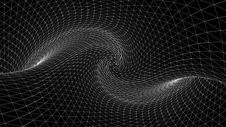 Abstract geometric curved space of white lines. Animation. Distorted space with three-dimensional textures of monochrome dark space