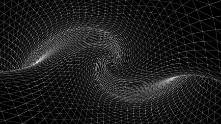 Espacio curvo geométrico abstracto de líneas blancas. Animación. Espacio distorsionado con texturas tridimensionales del espacio oscuro monocromático