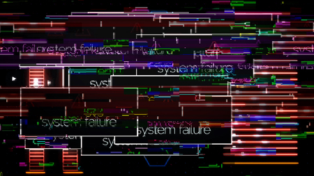 Program on the computer screen interrupted by system failure message, digital security concept. Animation. Signal interference and popups on the monitor. Stockfoto