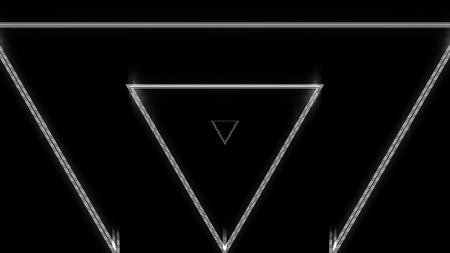 Beautiful abstract triangle tunnel with neon light lines moving fast on black background, seamless loop. Futuristic tunnel with white endlessly moving geometrical figures. 写真素材