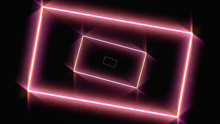 Abstract background with neon red rectangles moving one by one on black background, seamless loop. Animation. Glowing geometrical figures fly in an orderly manner.