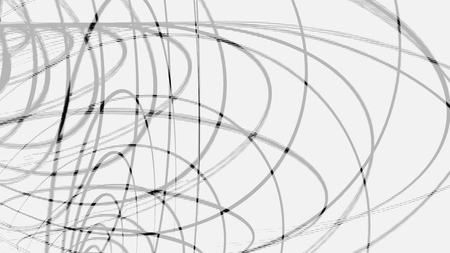 Abstract black intertwined 3D frames of circles rotating on white background, seamless loop. Animation. Volume rings of different size spinning endlessly, monochrome. Stock Photo
