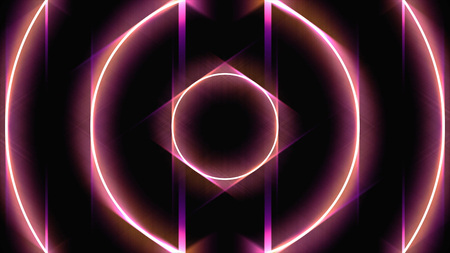 Glowing circle frames widen and moving fast one by one, seamless loop, energy concept. Animation. Red neon round shapes forming tunnel on black background, seamless loop. Фото со стока