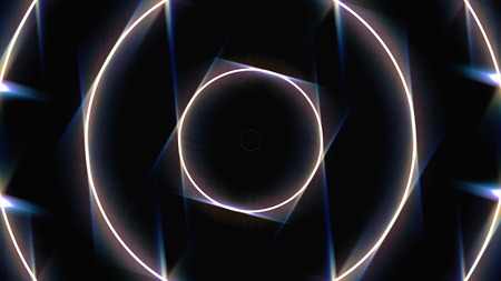 Abstract neon background with white glowing circle frames widen on black background, seamless loop. Animation. Neon luminous swirling lines fast movement, monochrome.