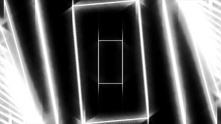 Abstract background with neon white rectangles moving one by one on black background, seamless loop. Animation. Glowing geometrical figures fly in an orderly manner, monochrome. Stock Photo