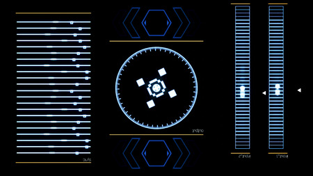 Futuristic digital interface screen with running computer program. Animation. Abstract functioning system application on black background.