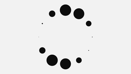 Abstract black dots on white background moving in circle. Animation. Abstract background of loading black dots pulsating in circular motion