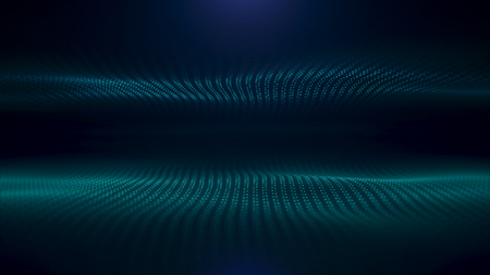 Abstract turquoise flow of optical fiberson black background, seamless loop. Animation. Two waves of green small particles moving in the same directions. Reklamní fotografie