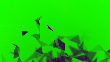 Colorful animation with moving triangles, crystal abstract painting. Stock. Small blinking black triangles blinking on green background, seamless loop.