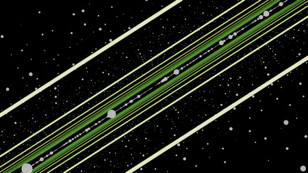 Straight green and beige lines moving and rotating on black background surrounded by rows of white dots, seamless loop. Animation. Abstract background with spinning colorful lines and circles.