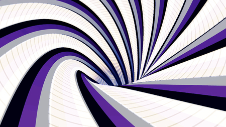 Abstract background with animated hypnotic tunnel of colorful stripes, seamless loop. Animation. Endless rotating funnel of white, purple, and black colors. Imagens - 124087482