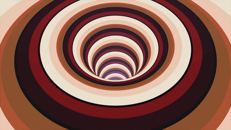 Abstract background with endless spinning funnel, seamless loop. Animation. Abstract helix with stripes of blinking red, brown, and black colors.