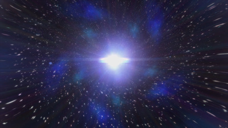 Moving backwards in abstract wormhole, time and space, clouds, and millions of stars. Animation. Beautiful blue galaxy tunnel with stars dust and shining bright light, seamless loop. Imagens - 124087490