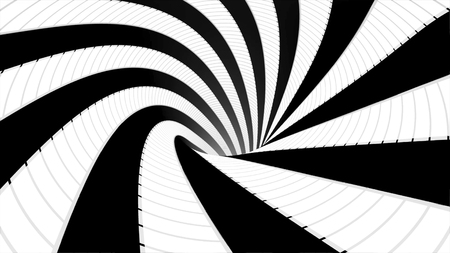 Abstract background with animated hypnotic tunnel of black and white stripes spinning, seamless loop. Animation. Endless rotating funnel, monochrome.