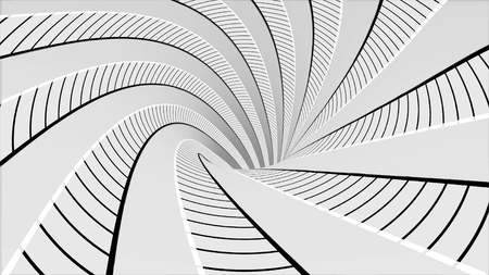 Abstract background with animated hypnotic tunnel of black and white stripes spinning, seamless loop. Animation. Endless rotating funnel, monochrome. Imagens - 124087543