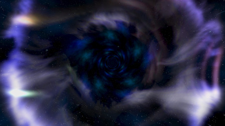 Moving backwards in abstract wormhole, time and space, clouds, and millions of stars. Animation. Beautiful blue galaxy tunnel with stars dust and shining bright light, seamless loop. Imagens - 124087547