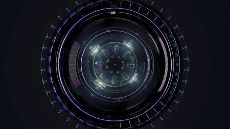 Beautiful large satellite in outer space. Animation. Rotating mechanism of an abstract space ship on black background. Imagens - 124087549