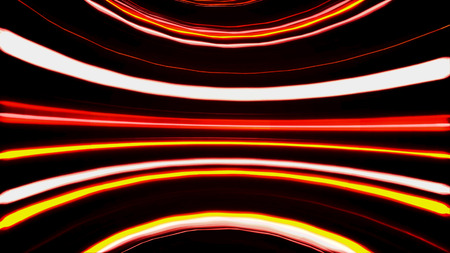 Abstract horizontal orange and golden round lines moving on black background, seamless loop. Animation. Bright shining red and yellow stripes in endless motion. Imagens - 124087596
