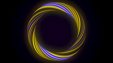Abstract glowing ring from twisting fiber with blinking colors isolated on black background. Animation. Shining yellow and blue colored circle, seamless loop.