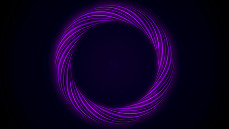 Abstract glowing ring from twisting fiber with blinking colors isolated on black background. Animation. Shining purple and blue colored circle, seamless loop.