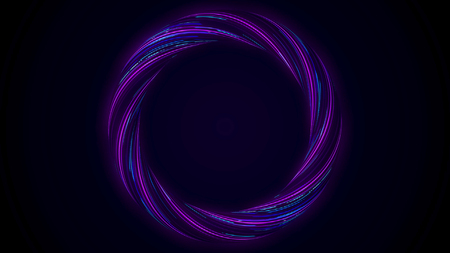 Abstract glowing ring from twisting fiber with blinking colors isolated on black background. Animation. Shining purple and blue colored circle, seamless loop. Imagens - 124087602