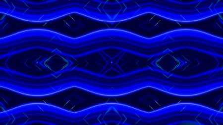 Glowing dynamic blue and white kaleidoscope, seamless loop. Animation. Beautiful changing magnetizing figures, abstract colorful background. Imagens
