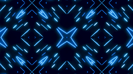 Glowing dynamic blue and white kaleidoscope, seamless loop. Animation. Beautiful changing magnetizing figures, abstract colorful background. Imagens - 124087606