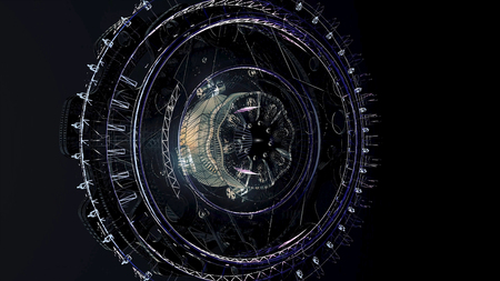 Beautiful large satellite in outer space. Animation. Rotating mechanism of an abstract space ship on black background. Imagens - 124087607