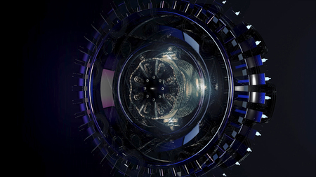 Beautiful large satellite in outer space. Animation. Rotating mechanism of an abstract space ship on black background. Imagens