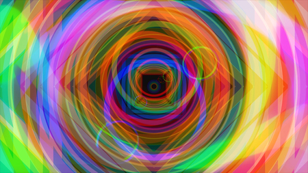 Flying through bright colorful hypnotic tunnel with circles and squares, seamless loop. Animation. Rainbow colors geometrical figures fly in a tunnel.