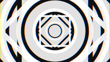 Flying through monochrome hypnotic tunnel with circles and squares, seamless loop. Animation. Black and white geometrical figures fly in a tunnel. Imagens