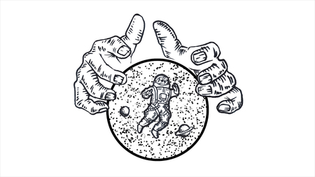 Giant hands holding a sphere with stars, planets and astronaut on white background. Animation. Monochrome abstraction with man hands holding a cosmic sphere with space inside.