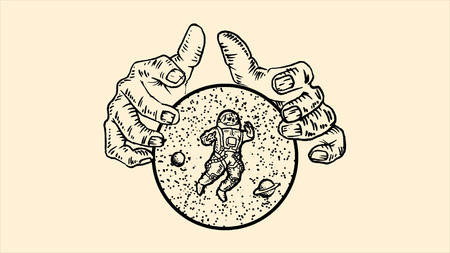 Giant hands holding a sphere with stars, planets and astronaut on beige background. Animation. Monochrome abstraction with man hands holding a cosmic sphere with space inside.