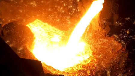 Étincelles sur fond noir du processus de coulée d'acier chaud, industrie lourde. Images d'archives. Gros plan sur le métal liquide s'écoulant du haut fourneau.