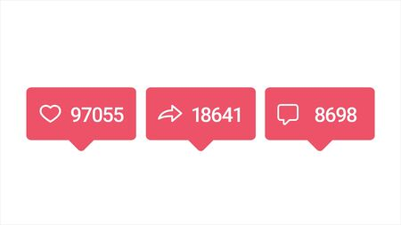 Social media red icons with increasing number of likes, reposts and comments isolated on white background, popularity concept. Animation. Counter icon animation on white screen.