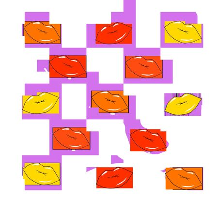 Multiple isolated colorful lips over white background, make up concept. Art. Orange, yellow, and red lipsticks for sensual cartoon lips