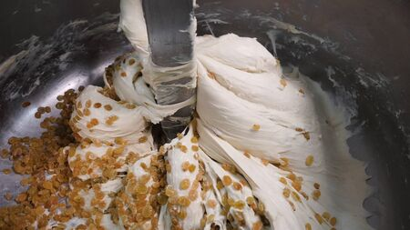 Close-up of dough with raisins in mixer. Stock footage. Delicious industrial pastries prepared for bakery. Large amount of raisins is mixed with yeast dough in stirrer Banque d'images