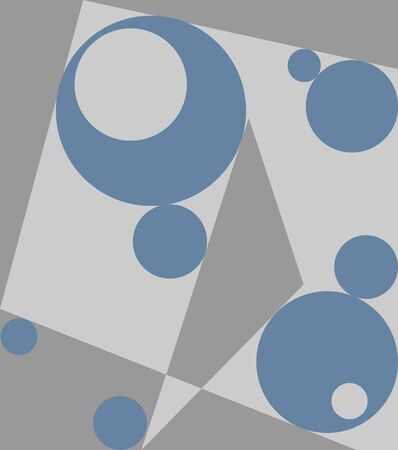 Different shapes illustration with circles, triangle, and polygon in grey and blue colors. Geometric abstraction with many random figures.