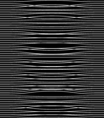 Abstract white twisted narrow lines on black background, monochrome. Print. Horizontal stripes of light