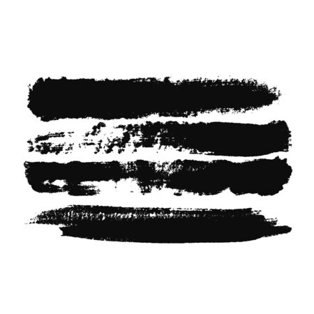 Abstract black brush strokes on white background, monochrome. Print. Black wide paint tracks, modern art concept