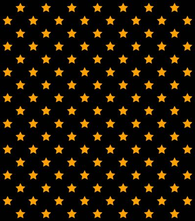 Abstract orange stars in rows on white background. Print. Geometric pattern of golden five pointed stars, symmetrical illustration 写真素材