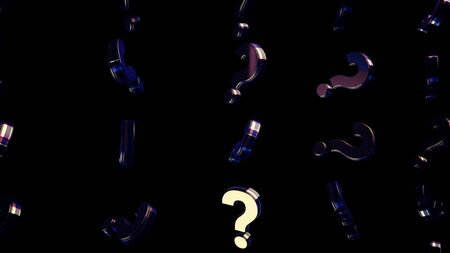Abstract of moving question marks on black background. Animation. Moving background with mirrored question marks