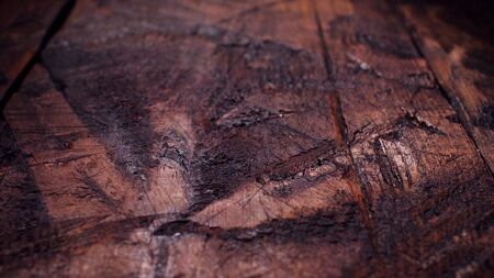 Rustic wooden table background top view. Stock footage. Noir elegance black wooden board background. Wood texture