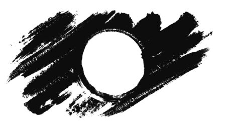 Abstract animation of drawing a circle with a brush. Animation. Circle drawn in black ink on a white background