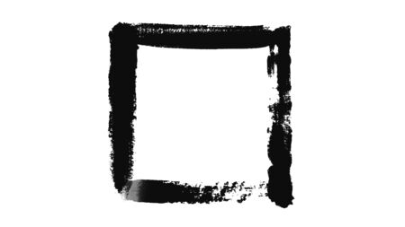 Abstraction of black rectangle painted on a white piece of paper. Minimalistic black and white animation of brush strokes on a white background Reklamní fotografie
