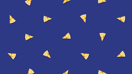 Minimal motion art, delicious slices of pizza on blue background, fast food concept. Moving chaotic slices of pepperoni pizza, seamless loop. Imagens - 127990042