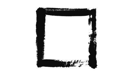 Abstraction of black rectangle painted on a white piece of paper. Minimalistic black and white animation of brush strokes on a white background 写真素材