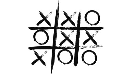 Abstract animation of black tic-tac-toe painted on a white piece of paper. Minimalistic black and white animation of brush strokes on a white background Stock Photo