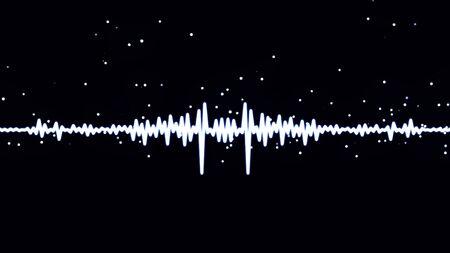 Monochrome Sprachaufzeichnung, künstliche Intelligenz, Wellenform-Equalizer und Visualisierung der Audiowelle. Weißes pulsierendes Signal auf schwarzem Hintergrund.